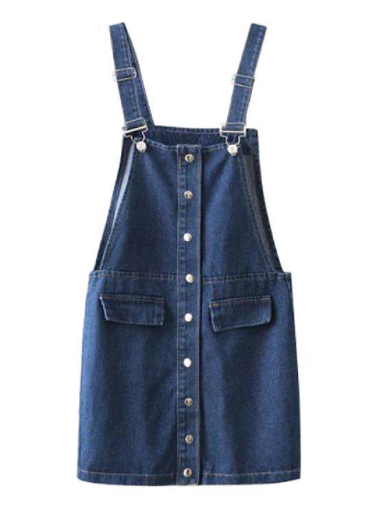 online Straps Solid Color Denim Dress - BLUE M