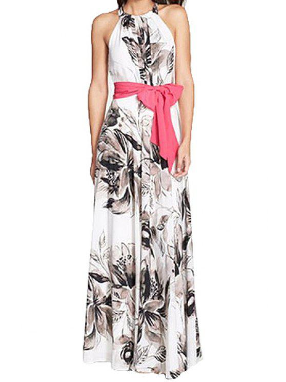 women Floral Print Belt Sleeveless Maxi Dress - WHITE S