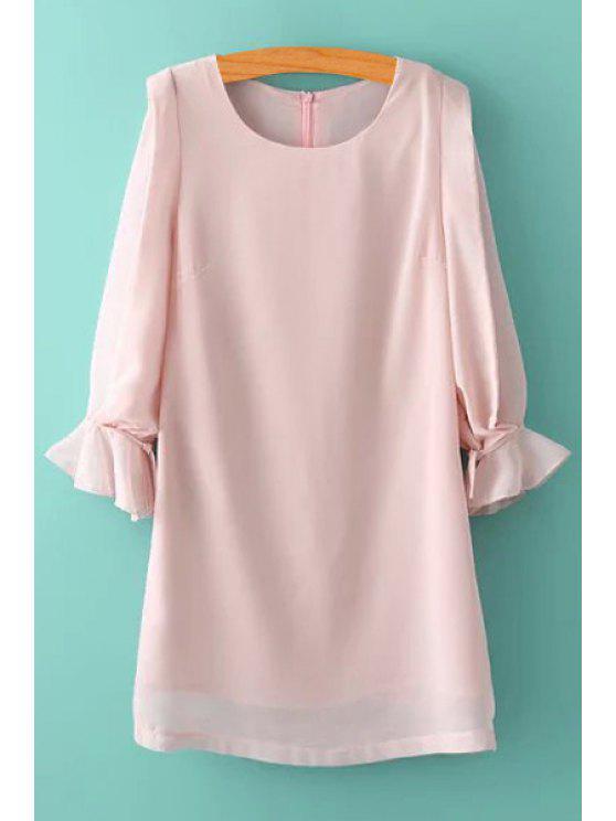 hot Pink 3/4 Sleeve Chiffon Dress - LIGHT PINK S