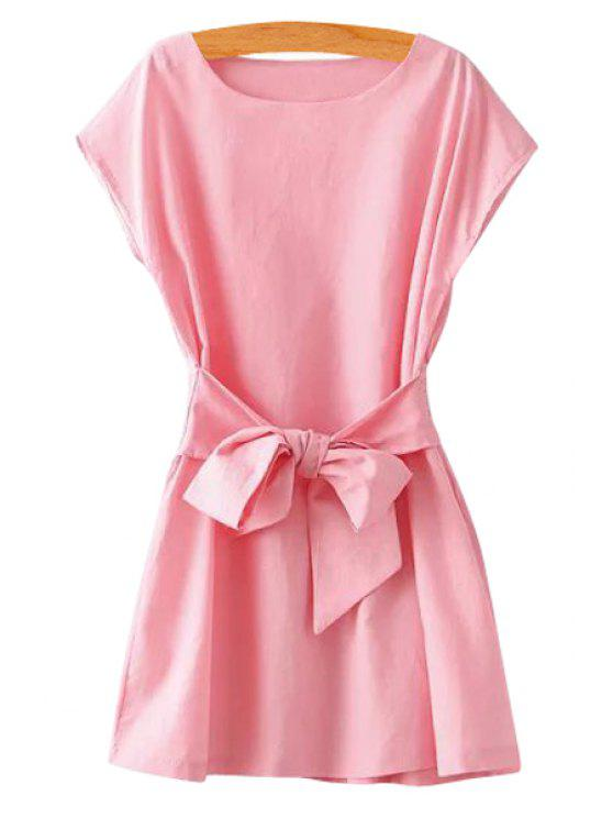 women's Pink Short Sleeve Self-Tie Dress - PINK S
