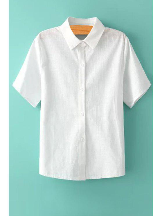 lady White Short Sleeve Linen Shirt - WHITE ONE SIZE(FIT SIZE XS TO M)