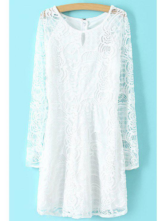 hot Openwork Solid Color Lace Long Sleeve Dress - WHITE S