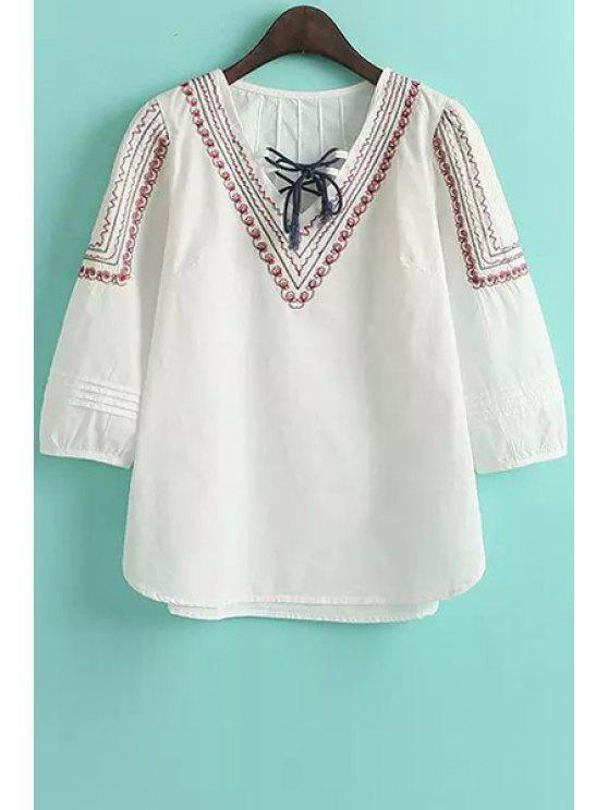 trendy Embroidery Tie-Up 3/4 Sleeve Shirt - WHITE M