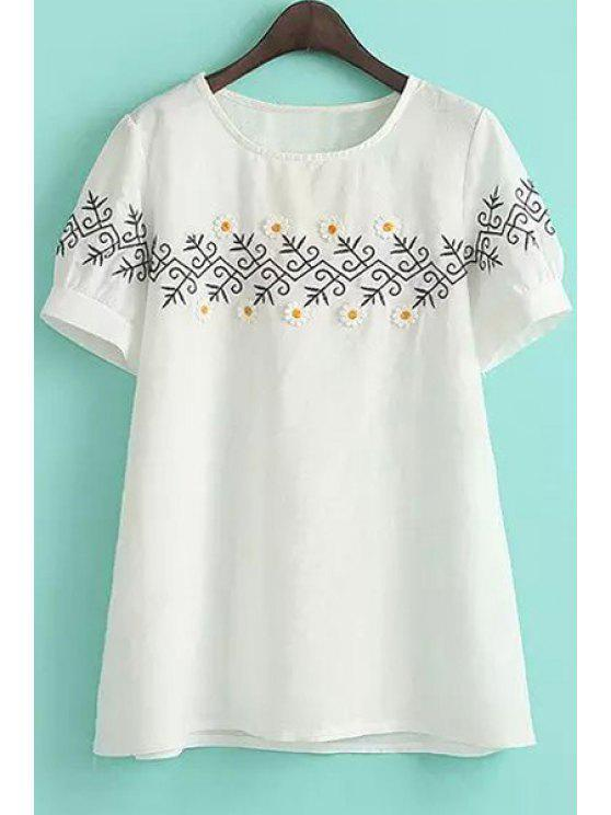 outfits Stereo Floral Embroidery Short Sleeve Dress - WHITE M
