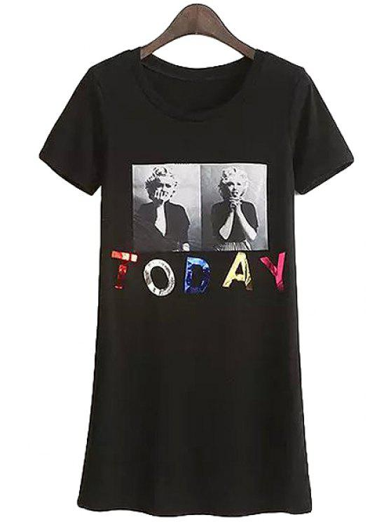 online Scoop Neck Figure Letter Print T-Shirt - BLACK ONE SIZE(FIT SIZE XS TO M)
