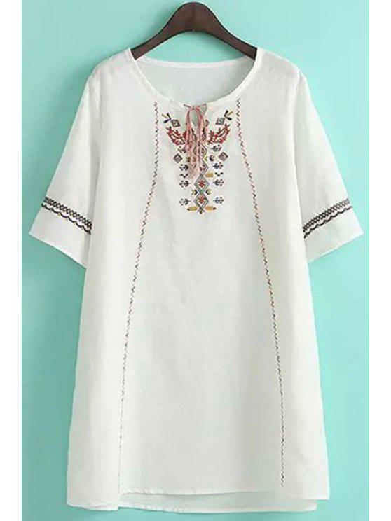 fashion Embroidery Tie-Up Short Sleeve Dress - WHITE M
