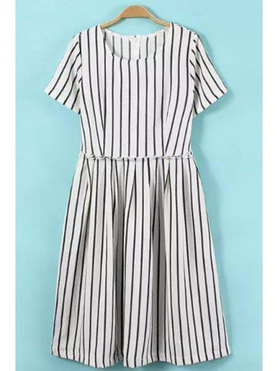 sale Stripe Ruffle Short Sleeve Dress - WHITE S