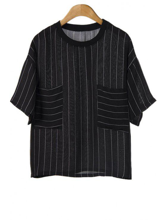 chic Striped Pockets Short Sleeve T-Shirt - BLACK ONE SIZE(FIT SIZE XS TO M)