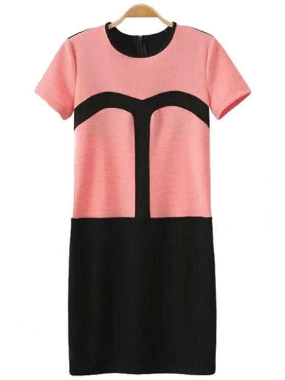 outfits Color Block Straight Short Sleeve Dress - RED WITH BLACK S