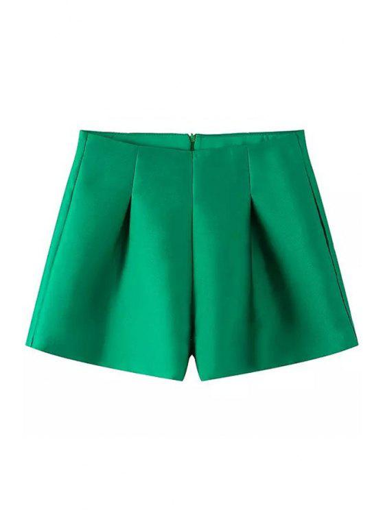 sale Solid Color Ruffle Zipper Shorts - GREEN S