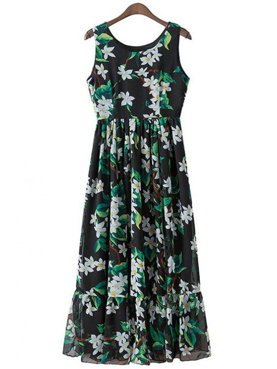women's White Floral Print Flounce Sleeveless Dress - BLACK S