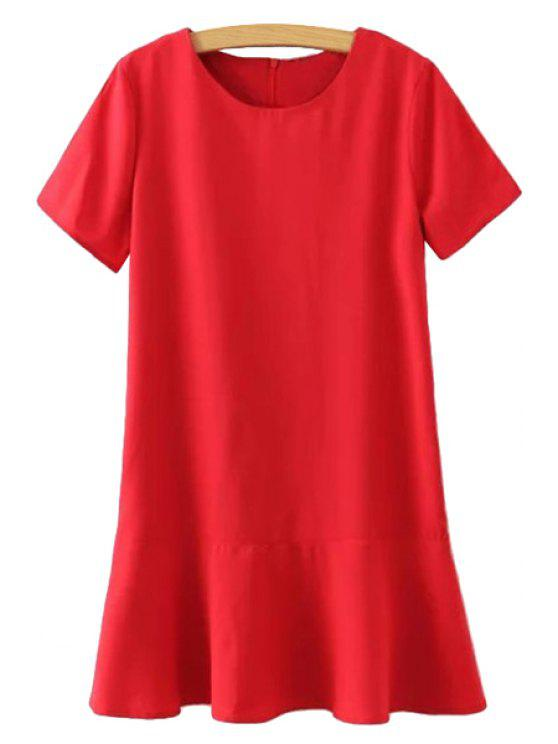 latest Jewel Neck Solid Color Dress - RED S