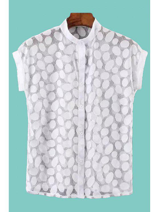 chic Polka Dot Openwork Short Sleeve Shirt - WHITE ONE SIZE(FIT SIZE XS TO M)