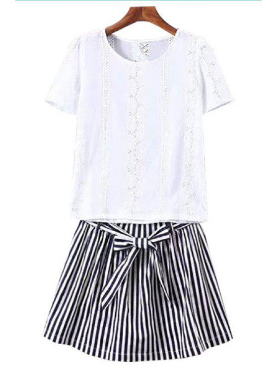 latest Floral Pattern Openwork T-Shirt + Stripe Shorts - WHITE AND BLACK S
