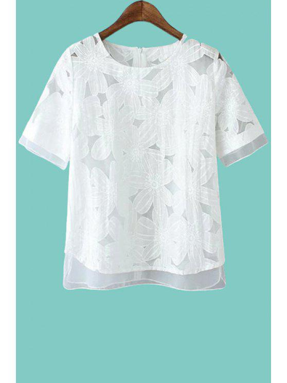 latest Floral Pattern Voile Short Sleeve T-Shirt - WHITE L