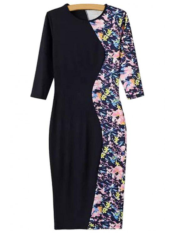 outfits Black Splicing Floral Print Half Sleeve Dress - BLACK S
