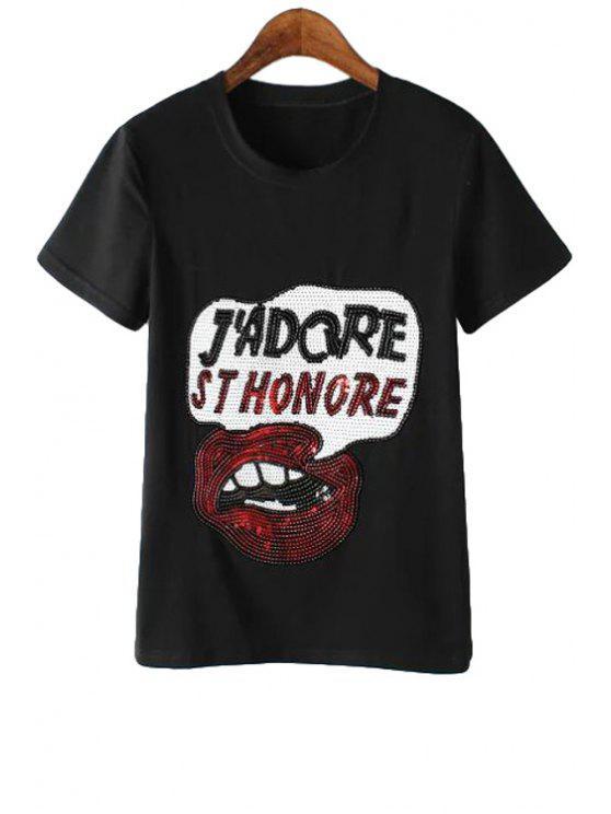 lady Letter Lip Pattern Sequins T-Shirt - BLACK M