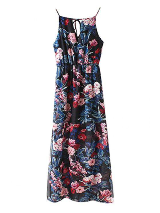 shops Spaghetti Strap Floral Print Slit  Dress - CADETBLUE S