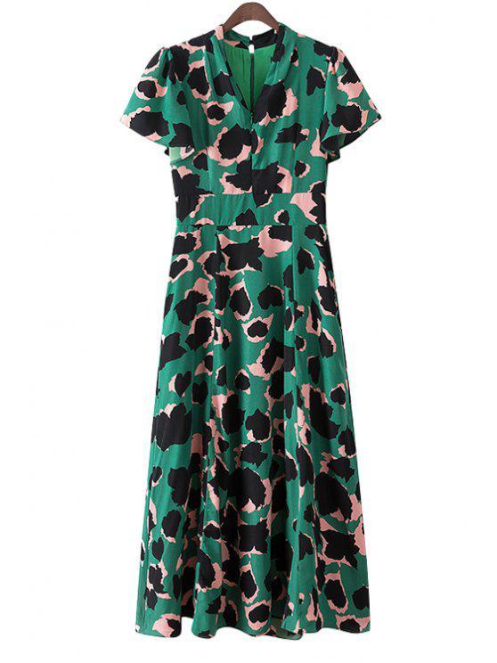 trendy Leopard Pattern Maxi Dress - GREEN S