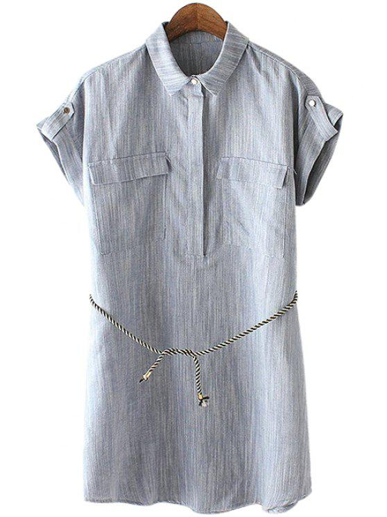 chic Solid Color Shirt Neck Short Sleeve Dress - GRAY S
