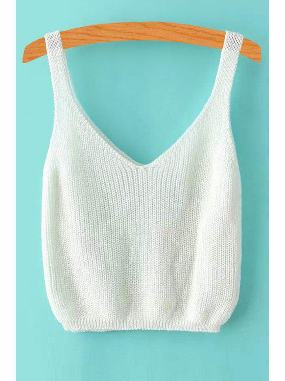 outfits Ribbed Sleeveless Knitted Tank Top - WHITE ONE SIZE(FIT SIZE XS TO M)