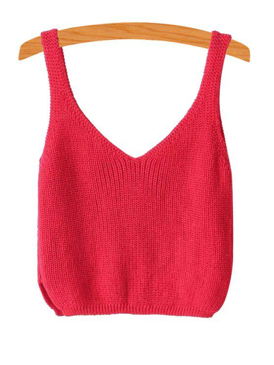 trendy Ribbed Sleeveless Knitted Tank Top - RED ONE SIZE(FIT SIZE XS TO M)