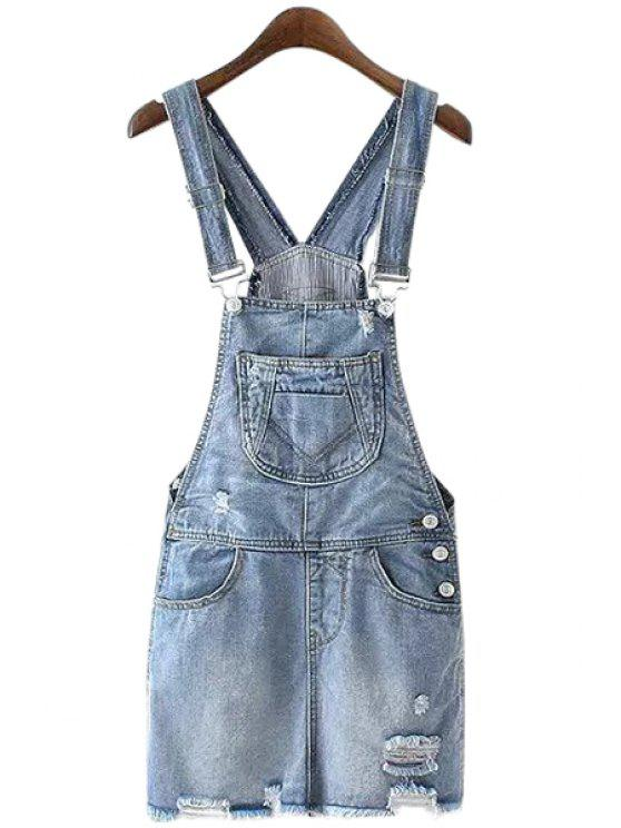 sale Broken Hole Straps Denim Dress - ICE BLUE S