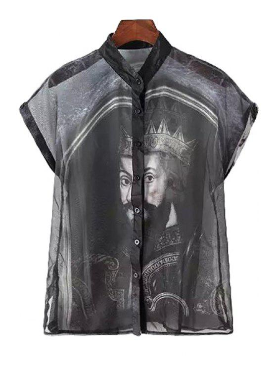 fashion King Print Short Sleeve Shirt - BLACK ONE SIZE(FIT SIZE XS TO M)