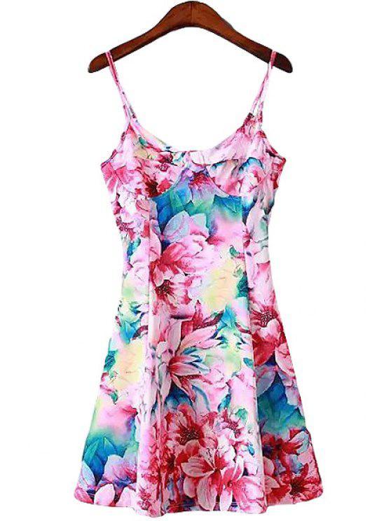 shop Spaghetti Straps Full Floral Dress - COLORMIX S