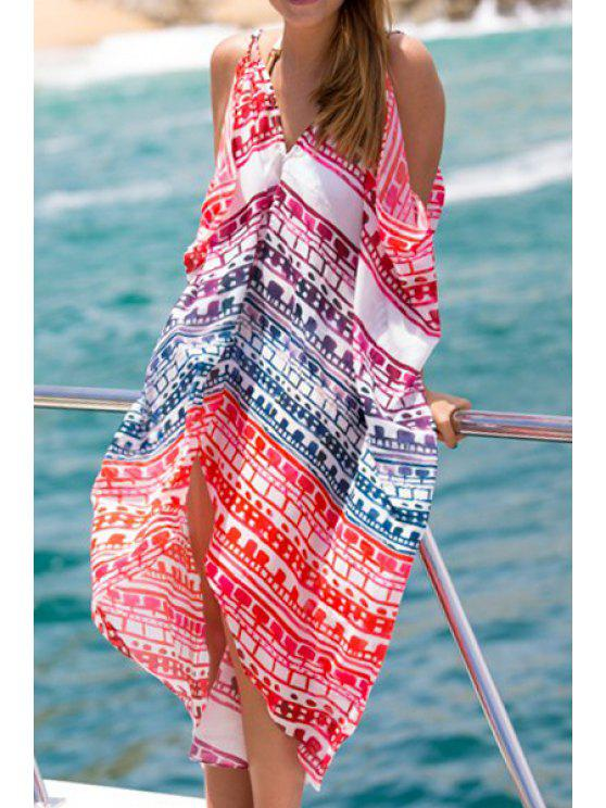 outfit Spaghetti Strap Colorful Geometric Print Dress - RED ONE SIZE(FIT SIZE XS TO M)