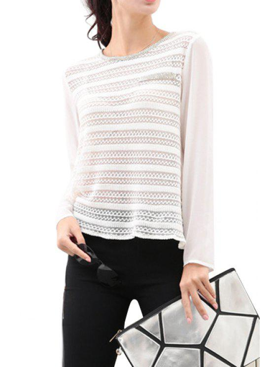 hot See-Through Chiffon Splicing T-Shirt - WHITE S