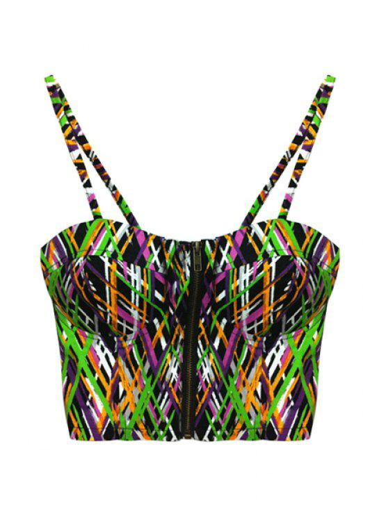 women Colorful Stripes Spaghetti Straps Crop Top - COLORMIX ONE SIZE(FIT SIZE XS TO M)