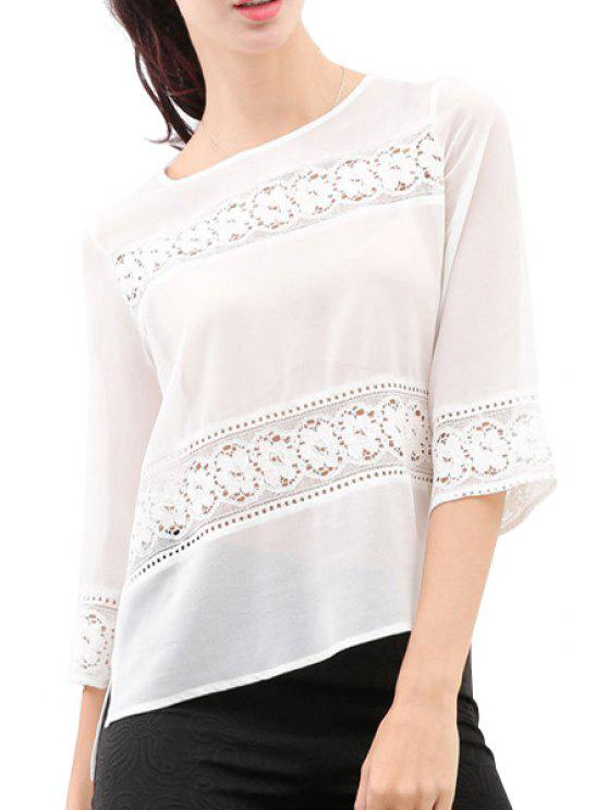 shop Lace Splicing Openwork Chiffon 3/4 Sleeve T-Shirt - WHITE S