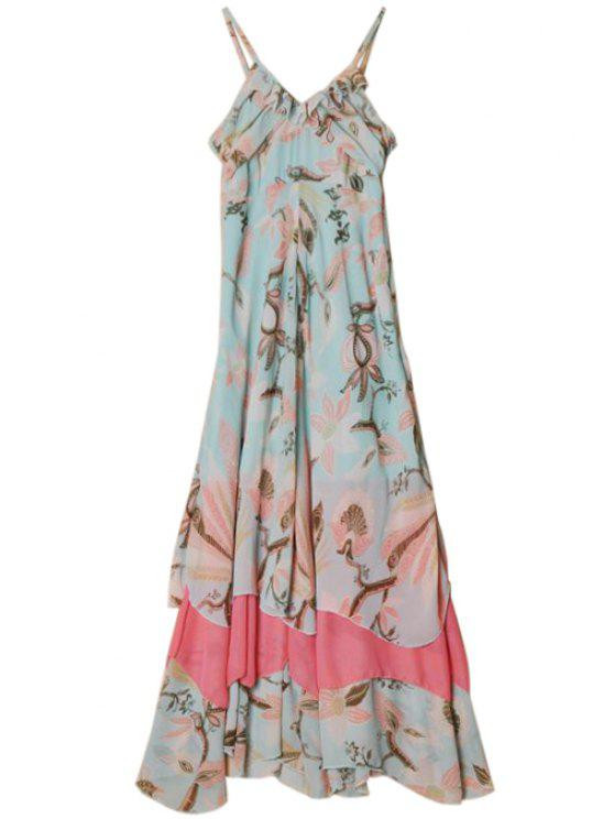 hot Flounce Splicing Floral Print Maxi Dress - GREEN XL