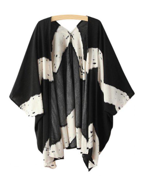 buy Collarless Color Block Half Sleeve Coat - BLACK M