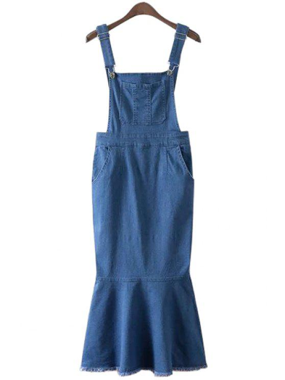 chic Bleach Wash Pocket Denim Mermaid Dress - BLUE S