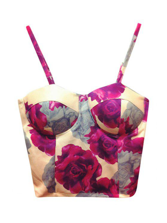 fancy Floral Pattern Spaghetti Straps Crop Top - PINK ONE SIZE(FIT SIZE XS TO M)