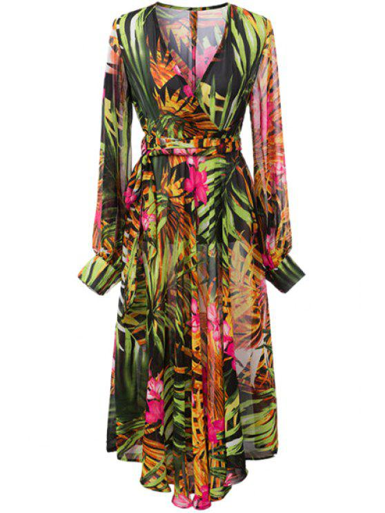 sale Color Block Leaves Print Tie-Up Dress - YELLOW S