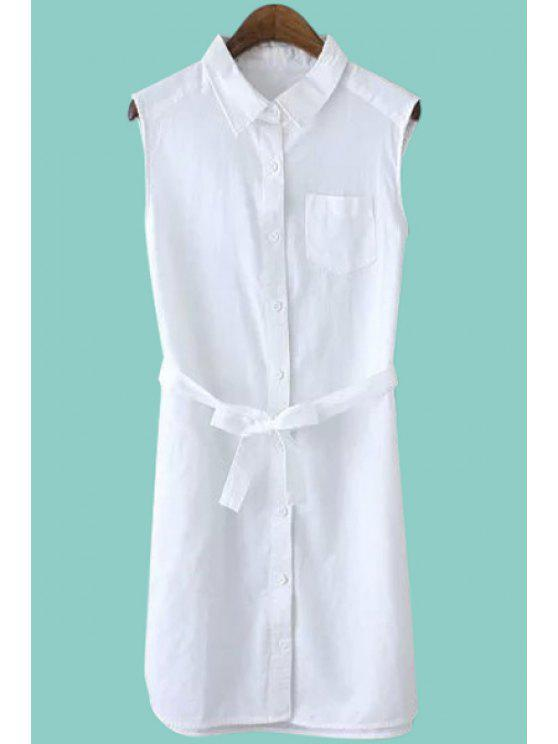 women's Solid Color Tie-Up Sleeveless Dress - WHITE S