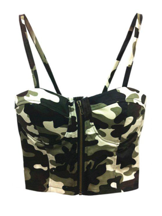 outfit Camouflage Print Spaghetti Straps Crop Top - ARMY GREEN ONE SIZE(FIT SIZE XS TO M)