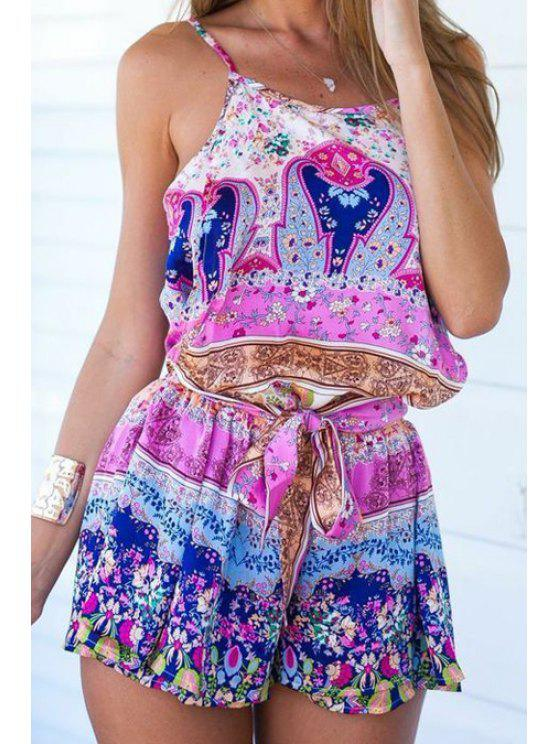 ladies Colorful Tiny Floral Print Sleeveless Romper - WATER RED S