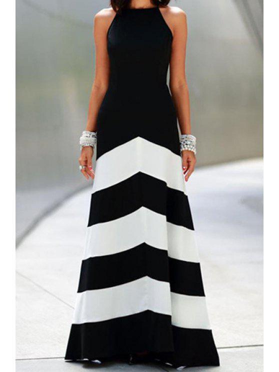 outfit Spaghetti Strap Color Block Stripe Maxi Dress - BLACK XL