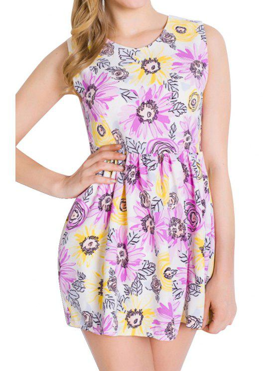 outfit Jewel Neck Floral Print Sleeveless Dress - PURPLE S
