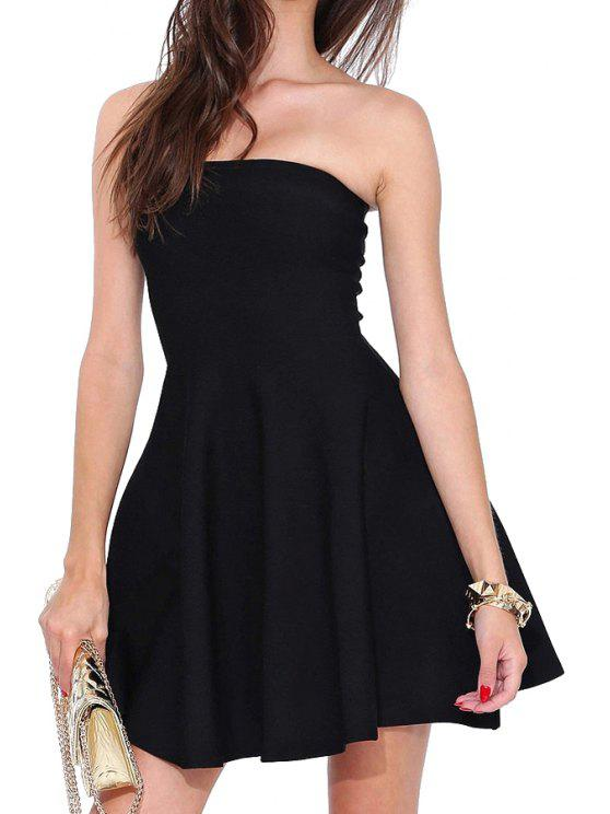 new Solid Color Strapless Sleeveless Dress - BLACK S