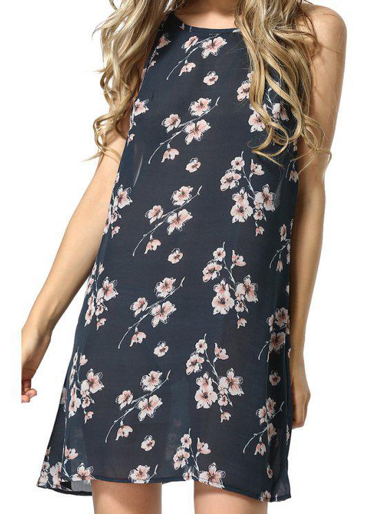 ladies Floral Spaghetti Straps Chiffon Dress - CADETBLUE S