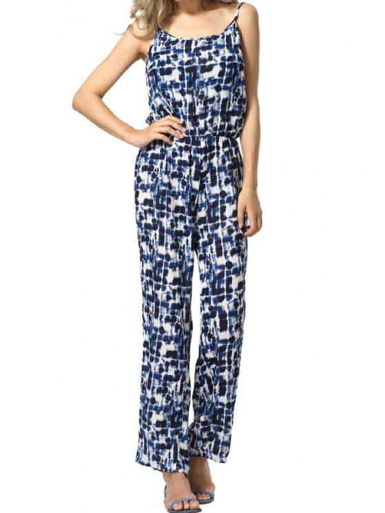 womens Print Spaghetti Straps Chiffon Jumpsuit - PURPLISH BLUE S