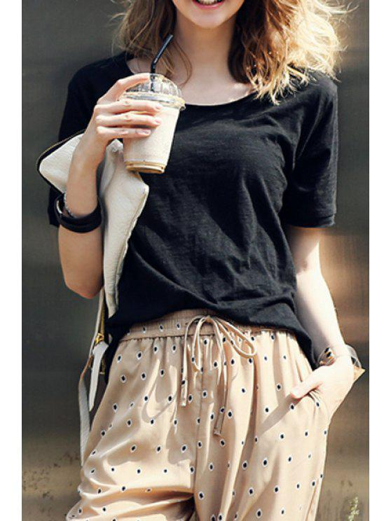 hot Solid Color Scoop Neck Short Sleeve T-Shirt - BLACK S