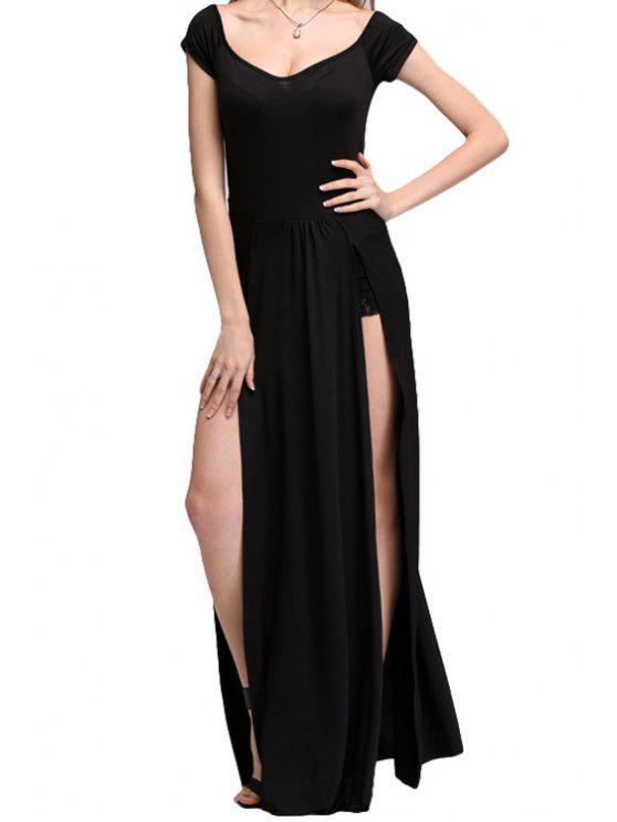 fashion Black Side Slit Short Sleeve Maxi Dress - BLACK M