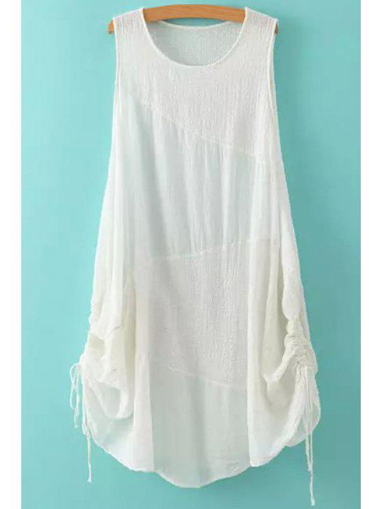 affordable Jewel Neck Solid Color Ruffle Tie-Up Dress - WHITE ONE SIZE(FIT SIZE XS TO M)