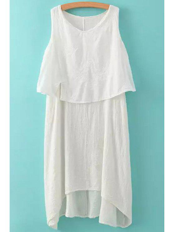 women's Solid Color Splicing Tie-Up Sleeveless Dress - WHITE ONE SIZE(FIT SIZE XS TO M)